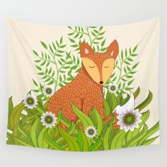 A fun vector illustration of a sleepy fox relaxing in a field of daisies.