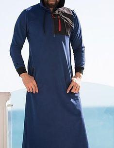 QL KamiHoodie Active Thobe Kameez with Long Sleeves in Indigo Urban Fashion, Trendy Fashion, Mens Fashion, Jubbah Men, Maxi Outfits, Fashion Outfits, Kurta Men, African Dresses Men, Kurta Style