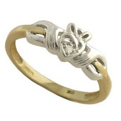 I love this style of claddagh ring... I think the two tone would be beautiful with rose gold instead of the yellow. :)