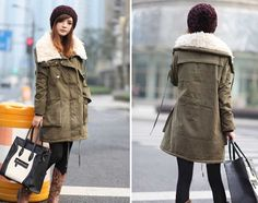 Casual Style Loose-Fitting Lover Style Wool Fur Inside Long Sleeves Cotton Blend Coat For Women (ARMY GREEN,M) China Wholesale - Sammydress.com