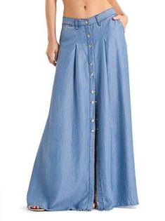 denim sThis is old school but I would actually wear it. - Denim Shirt Dress - Ideas of Denim Shirt Dress Denim Fashion, Trendy Fashion, Boho Fashion, Fashion Outfits, Modest Outfits, Modest Fashion, Moda Jeans, Denim Shirt Dress, Denim Skirt