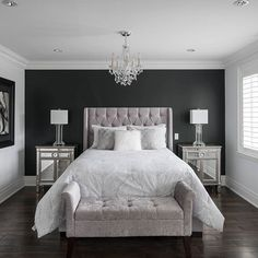 Bedroom shot for custom home builder. Purple Master Bedroom, Glam Bedroom, Bedroom Bed Design, Bedroom Wall Colors, Home Decor Bedroom, Modern Bedroom, Bedroom Ideas, Minimalist Bedroom, Bedroom Styles