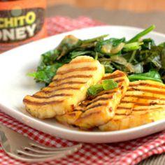 Luchito Honey Fried Halloumi and sauteed greens Roast Veg Recipe, Fried Halloumi, Veg Recipes, Vegetarian Recipes, Sauteed Greens, Chilli Paste, Dessert Spoons, Tomato Sauce, Food Photo