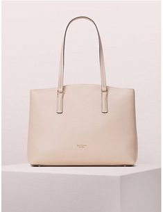 Brand New Kate Spade Large Abbott Tote COLOR:PALE VELLUM Kate Spade Totes, Kate Spade Tote Bag, Handbags For School, Embossed Logo, Large Tote, Pebbled Leather, Purses And Handbags, Satchel, Brand New