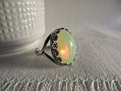Yellow Opalite Glass Cocktail Ring Silver Pewter by theknottedgem