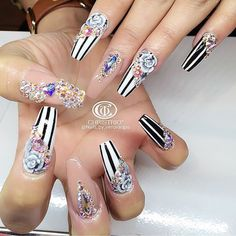 Pinstripe roses long nails