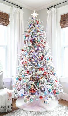 Fun, Festive, and Flocked Christmas Tree | inspiredbycharm.com