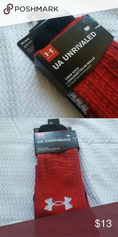 Under Armour Red Crew socks - M Brand new in original packaging. Red with white UA logo crew socks. Under Armour Underwear & Socks Athletic Socks