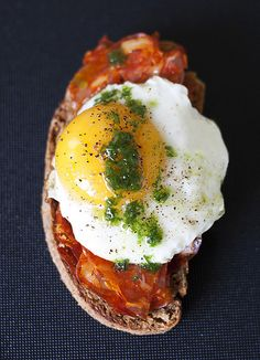 "Spanish chorizo, egg, and chive oil tartines by Lardon My French, llamado ""cojonudo"" en Valladolid, Spain."