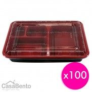 Disposable Red Bento Boxes × 100
