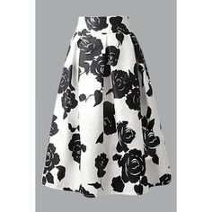Yoins White A-line Midi Skirt In Black Floral Frint ($25) ❤ liked on Polyvore featuring skirts, white, flared midi skirt, knee length a line skirt, midi skirt, pleated skirt and floral midi skirt
