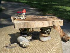 Fairy Feast Table, Fairy Kitchen Table, Fairy Garden Accessory, Fairy Doll House Table, Faerie House. $25.00, via Etsy.