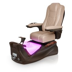 Infinity pedi-spa shown in Acorn Ultraleather cushion, Mocha base, Aurora LED Color-Changing bowl (shown in purple)
