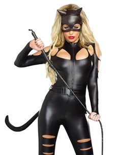the cat fight costume from dreamgirl has three pieces including a black metallic stretch zip front
