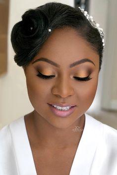 natural makeup look for black skin – makeup ideas on dark skin - Makeup Ideas Black Bridal Makeup, Bridal Hair And Makeup, Wedding Hair And Makeup, Hair Makeup, Eye Makeup, Black Woman Makeup, Movie Makeup, Doll Makeup, Clown Makeup