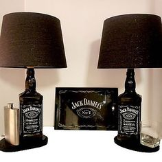 12 cool Jack Daniel's bottle lamps men will love. Visit www.ilikethatlamp& Source by wearemakely The post DIY Man Cave Lighting Ideas: Jack Daniel's Whiskey Bottle Lamps appeared first on Rosa Home Decor. Whiskey Bottle Crafts, Glass Bottle Crafts, Bottle Art, Beer Bottle, Alcohol Bottle Crafts, Vodka Bottle, Jack Daniels Lampe, Jack Daniels Bottle, Jack Daniels Decor