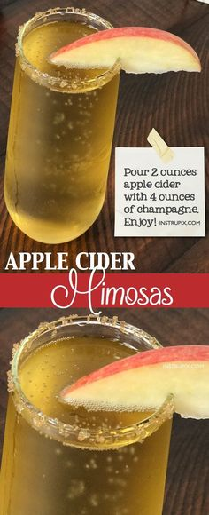 Easy Apple Cider Mimosa Recipe (made with champagne or prosecco) | 6 easy holiday cocktail recipes using just 2 ingredients! All made with alcohol for adults. These drinks are perfect for Christmas or Thanksgiving, and super easy for a crowd. A variety of whiskey, vodka and wine. Instrupix.com