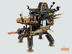 A temple in clouds of steampunk lego