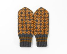 Hand Knitted Mittens  Gray and Orange Size by UnlimitedCraftworks