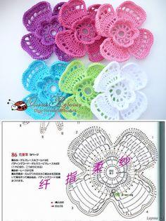 Crochet Flower - Chart by Kasia Ducharme Crochet Diy, Beau Crochet, Thread Crochet, Love Crochet, Irish Crochet, Beautiful Crochet, Russian Crochet, Knitted Flowers, Crochet Flower Patterns