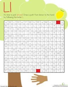 Worksheets: Letter Maze: L