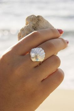 Silver Sunrise Shell Ring
