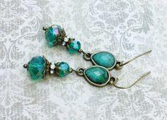 Teal Earrings Green Earrings Crystal Earrings by SmockandStone