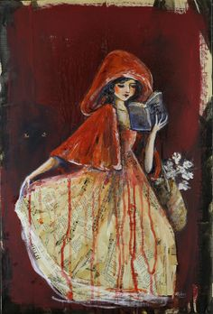 "Sara Riches, ""Once Upon a Time"" Mixed Media Painting, Mixed Media Canvas, People Reading, Line Artist, Red Ridding Hood, Art Inspiration Drawing, Fairytale Art, Once Upon A Time, Framed Art Prints"