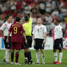England's Wayne Rooney is sent off after stamping on Portugal's Ricardo Carvalho during the quarter final of the 2006 World Cup, in Gelsenki...