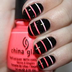 ♥ nails ideas ♥  gradient pink taped manicure