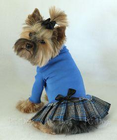 Blue Plaid Turtleneck Dress