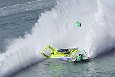 Hydroplane crash at Qatar:  Peters and May hits the green boat, apparently after a blowover.  classic unlimited class hydroplane hydroplanes hydro hydros racing boat boats