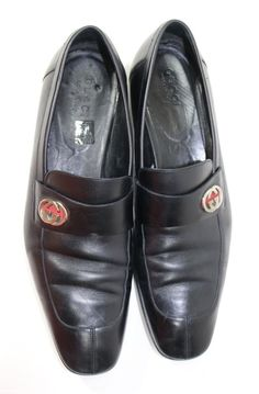 2649a1392bd GUCCI Mens Shoes Size 13 D Black Double G Leather Dress Loafers Slip Ons   leather