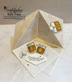 3d Corner Fold Stage Card Fun Fold Cards, Folded Cards, Business Stamps, Gold Foil Paper, Square Envelopes, Pop Up Box Cards, Interactive Cards, Easel Cards, Masculine Cards