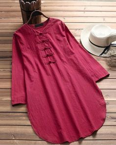 Women Tops Plus Size Casual Chinese Button Half Sleeve Linen Dress Shirt