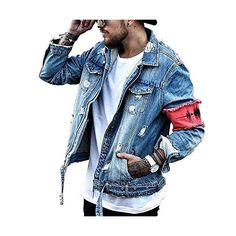 Shop a great selection of iooho Men's Denim Jacket Ripped Distressed Jeans Jacket Rugged Trucker Jacket Man. Find new offer and Similar products for iooho Men's Denim Jacket Ripped Distressed Jeans Jacket Rugged Trucker Jacket Man. Denim Jacket Patches, Lined Denim Jacket, Denim Jacket Men, Wholesale Denim Jackets, Ripped Denim, Men's Denim, Washed Denim, Denim Style, Distressed Jean Jacket