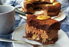 Chocoladetaart met chocolademousse en banaan