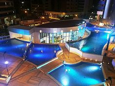It might be too dark to swim at the beach at night but that doesn't mean you should stop.  Head back to your vacation rental and have a good time in a unique pool like this in #Fortaleza #Brazil