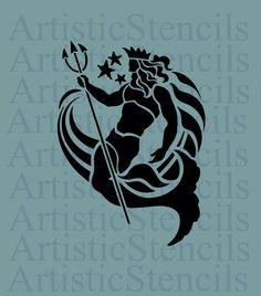 STENCIL Neptune Roman God of the Sea  10x7.2