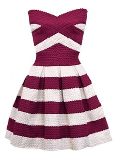 Sailor Sweetheart Dress: Features a stunning sweetheart neckline, textured crimson and white stripes throughout for a retro twist, dramatic flared A-line silhouette, and an edgy exposed rear zipper to finish.