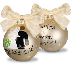 Beautiful glass ornament makes a thoughtful keepsake! Personalization on back will be Upper/lowercase typestyle and positioning only as shown. Ornaments have a 4 diameter. Every detail of the original design is painted by hand ensuring that you are giving a unique and adorable keepsake that will be cherished for years to come. Ornament will come with attached ribbon in color as shown.