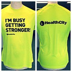 Neon gele sport shirtjes aan 2 zijden bedrukt voor Health City.