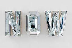 Mirror, Mirror: Reflective Art by Mathias Kiss, Doug Aitken & more :: This Is Glamorous Lettering, Typography Design, Signage Design, Mathias Kiss, Mirror Letters, Mirror Mirror, 3d Letters, Glitter Letters, Mirror Image