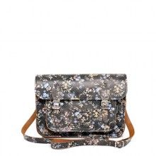 """Black Leather Small Floral Print Satchel With Handle 11.5"""""""