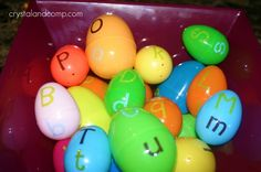 Easter egg matching game Maybe even with something retreating with the letter inside