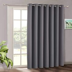 Blackout Patio Door Curtains Bedroom - Home Decor Grommet Curtain Thermal Insulated Vertical Blind Window Treatment Drapes for Living Room Sliding Glass Door, Wide 100 x Long 84 inch, Grey | CountryCurtains Glass Door Curtains, Patio Door Coverings, Sliding Door Curtains, Patio Door Curtains, French Door Curtains, Sliding Patio Doors, Grey Curtains, Curtains With Blinds, Blinds For Windows