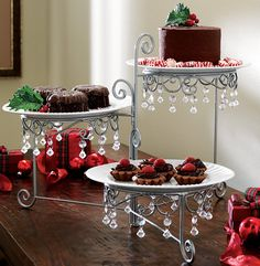 Amazon.com | Beaded 3 Tier Silvertone Swivel Server: Serving Trays