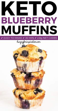 Healthy Gluten Free Keto Blueberry Muffins with only net carbs per muffin! Super easy to make in about 30 minutes! A perfect keto treat, sweet keto breakfast or keto dessert! Desserts Keto, Keto Friendly Desserts, Keto Snacks, Dessert Recipes, Easy Keto Dessert, Cookbook Recipes, Recipes Dinner, Cookie Recipes, Keto Blueberry Muffins