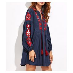 DESCRIPTION V Neckline Long Sleeve Short Dress Shift Silhouette Embroidered Tunic Dress Fabric has no stretch 100% Linen Season: Fall/Winter, Spring/Summer MEASUREMENTSSMALL: Bust: 34.6 inches Waist: 33.1 inchesLength: 33.5 inchesSleeve Length: 22.8 inchesMEDIUM Bust: 36.2 inches Waist: 35 inchesLength: 33.9 inchesSlee