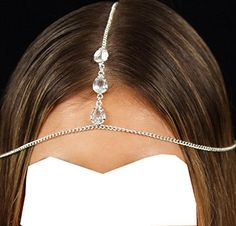 Wiipu Head Chain Rhinestones Silver Chain Teardrop Crystal Charm Bridal * Click on the image for additional details.Note:It is affiliate link to Amazon.